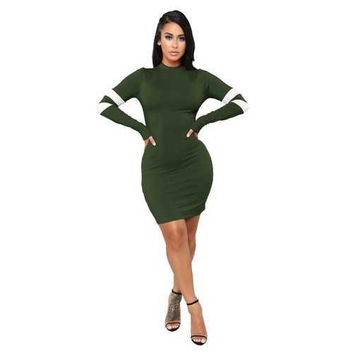 Army Green O-Neck Long Sleeve Sexy Bodycon Dress