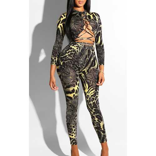 Women Sexy Bandage with Leopard Print Jumpsuit