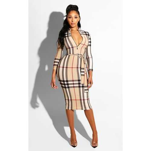 Plaid Printing With Zip In Front Bodycon Dress