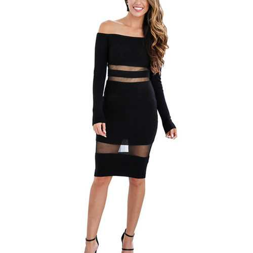 Women Mesh Patchwork Long Sleeve Black Bodycon Dress