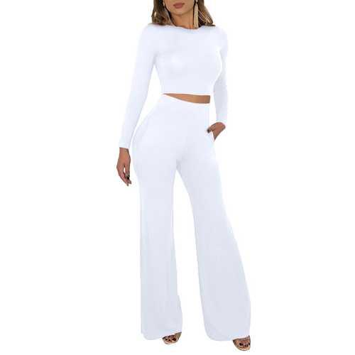 High Waist Long Sleeve Wide Legs White Bodycon Dress Set