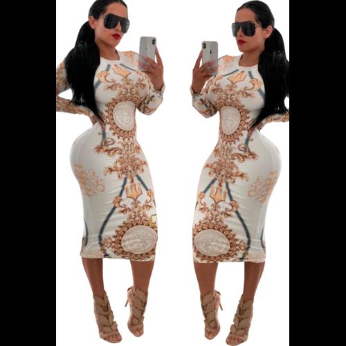 Printed Long Sleeves Women Bodycon dress