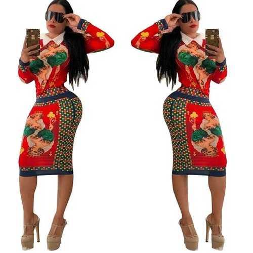 Printed Long Sleeves Women 2 Pcs Bodycon dress