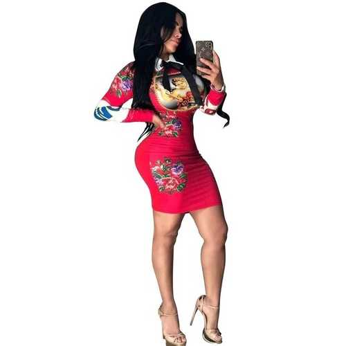 Red Printing Long Sleeve Doll Collar bodycon dress