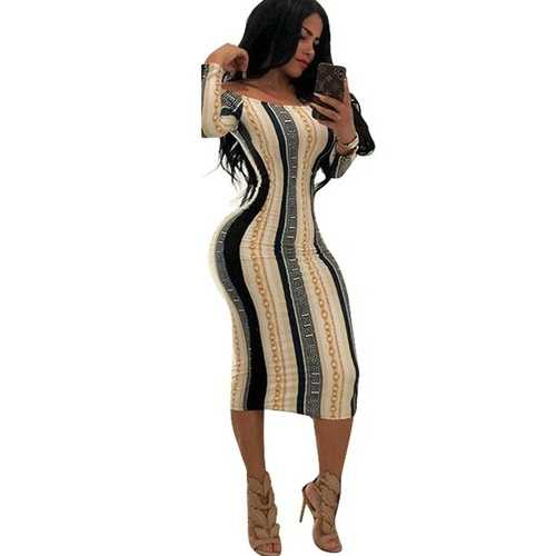 Off-Shoulder Long Sleeve Printed Bodycon dress