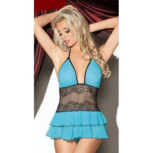 Sexy Blue Multilayered Ruffle Lingerie