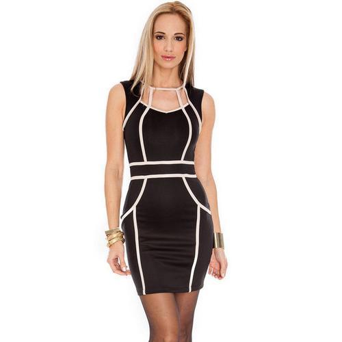 Black Trendy Celeb Red Curve-enhancing Mini Dress