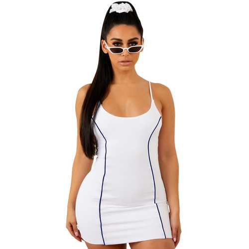 White Spaghetti Strap Mini Bodycon Dress
