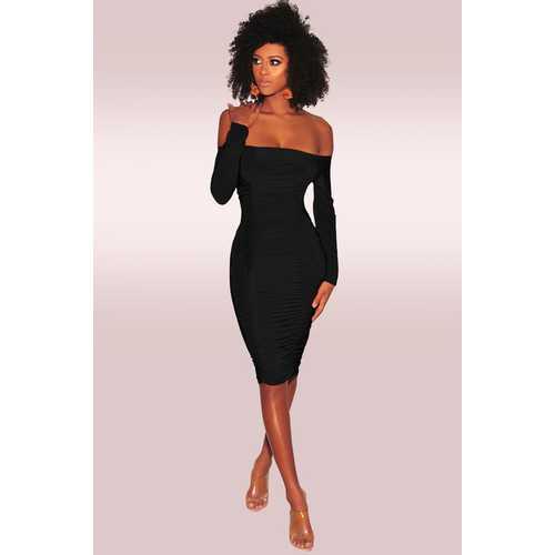 Black Off-Shoulder Long Sleeves Bodycon Dress
