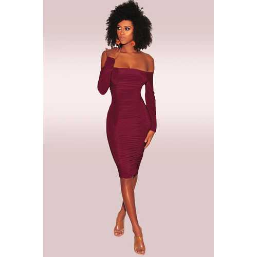 Wine Red Off-Shoulder Long Sleeves Bodycon Dress