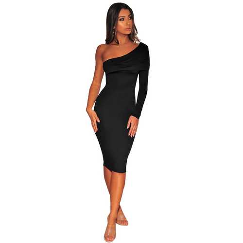 Black One Shoulder Long Sleeve Ruched Midi Dress