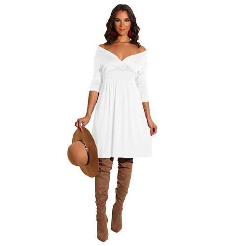 New arrivals Fashion Solid Deep V-neck Dress White