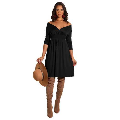 Women Fashion Long Sleeve Solid Black Deep V-neck Dress