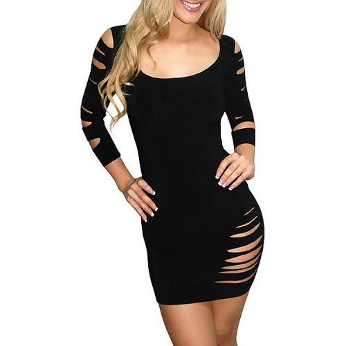 Black Cut Out Long Sleeve Mini Dress