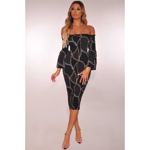 Unique  Chain print  Off Shoulder Bodycon dress Gold