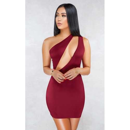 Wine Red Sexy One Shoulder Hollow-out Bodycon Dress