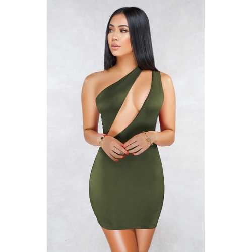Army Green Sexy One Shoulder Hollow-out Bodycon Dress