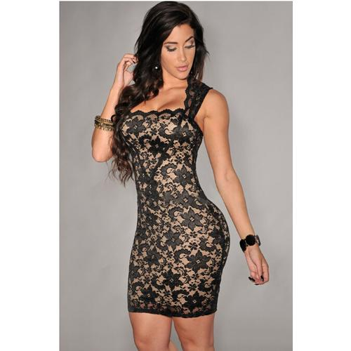 Black Elegant Slash Neck Embroidered Lace Nude Illusion Dress