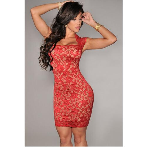 Red Elegant Slash Neck Embroidered Lace Nude Illusion Dress