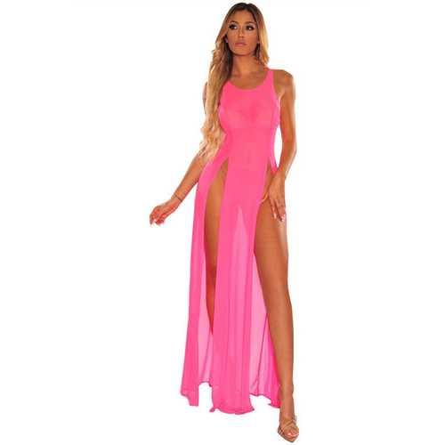 Fashion Design Chiffon Pink Beachwear Summer Solid Color Beach Cover up Dress