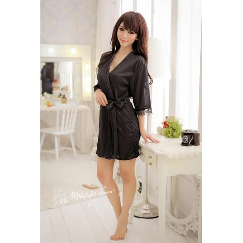 Black Sexy Ice Silk Gown Bathrobe