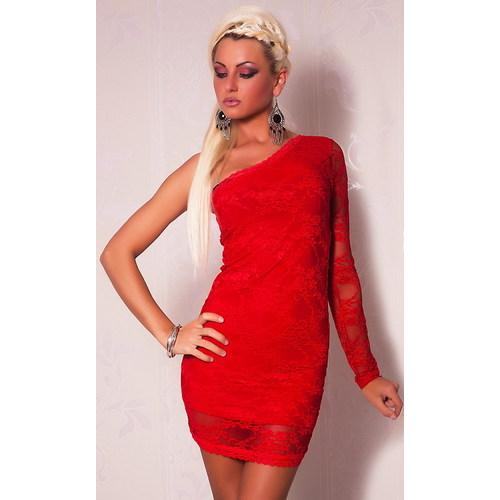 Catch Fashion One Sleeve Mini dress with Lace Red