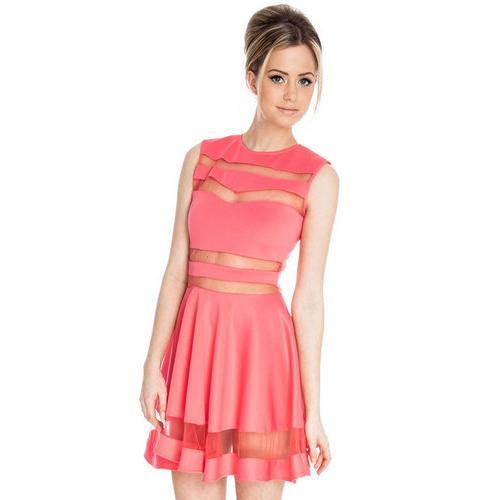 Mesh Panel Club Skater Dress Pink