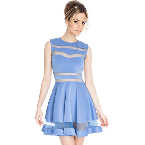 Mesh Panel Club Skater Dress Blue