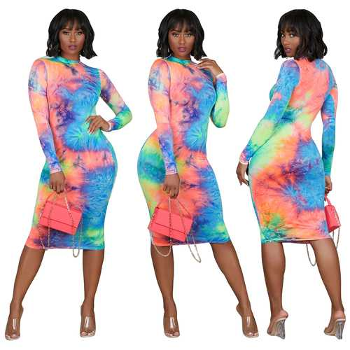 Women Printed Muticolor Elastic Waist Long-Sleeve Dress