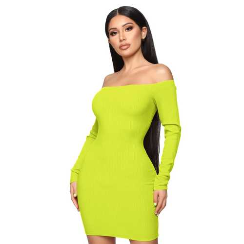 Solid Bright Yellow Off-shoudler Long-Sleeve Mini Dress