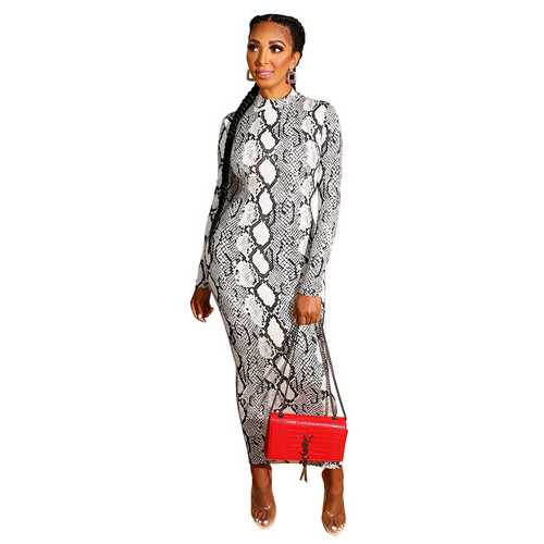 Print Dress with Zip Doule-sizes Long-sleeve Skinny Dress