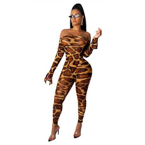 Leopard Print Off-shoulder Horn Sleeve Two-piece Suit