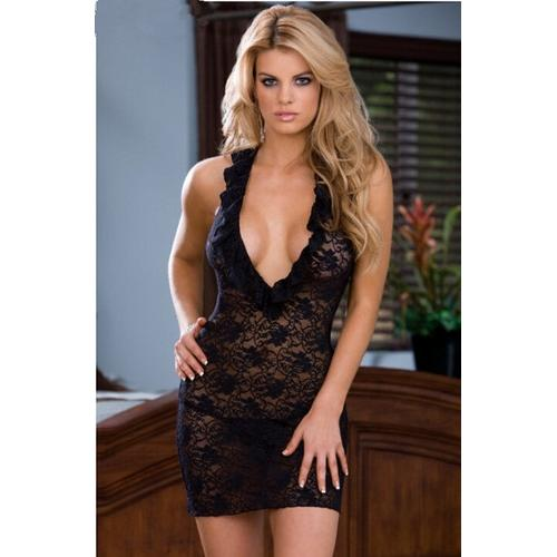 Charming Chemise Women Seductive Ruffle Deep V-Neck Floral Lace Lingerie Black
