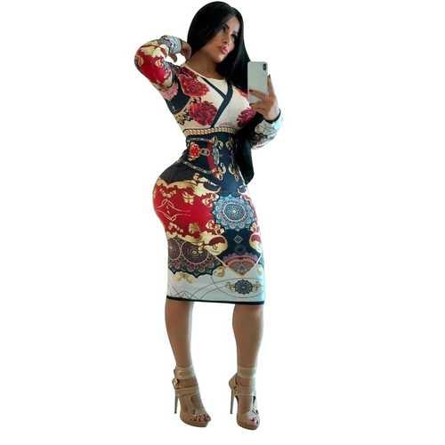 White O-neck Long Sleeve Women Bodycon Print Dress
