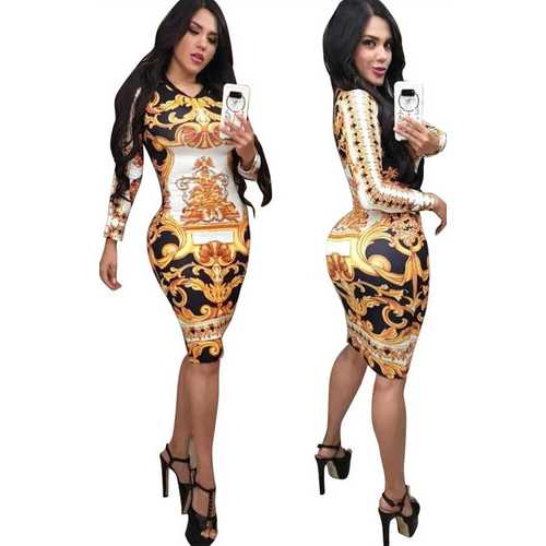 Gold O-neck Long Sleeve Women Bodycon Print Dress