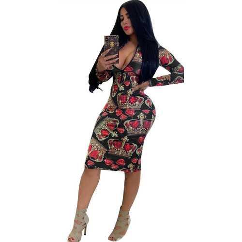 Black Sexy  Long Sleeve Bodycon Print Dress With Zipper