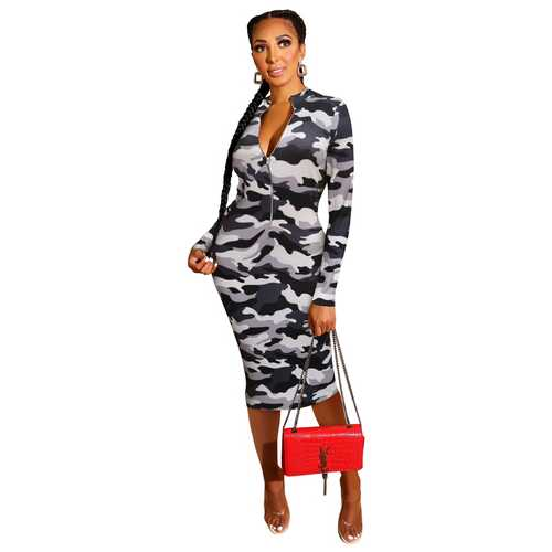 Print dress Zipper Front Long Sleeve Skinny Dress Grey
