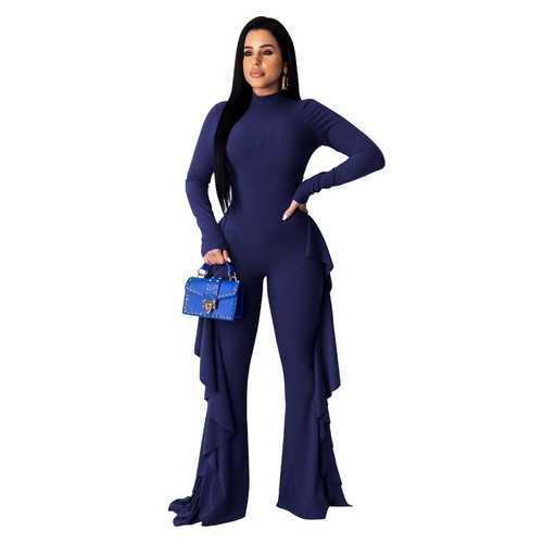 Fashion High Neck Slim Ruffle Long Sleeve Jumpsuit Royal Blue