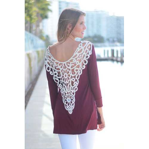 Casual Backless Lace Embroider Long Sleeve Women T-Shirt Wine Red