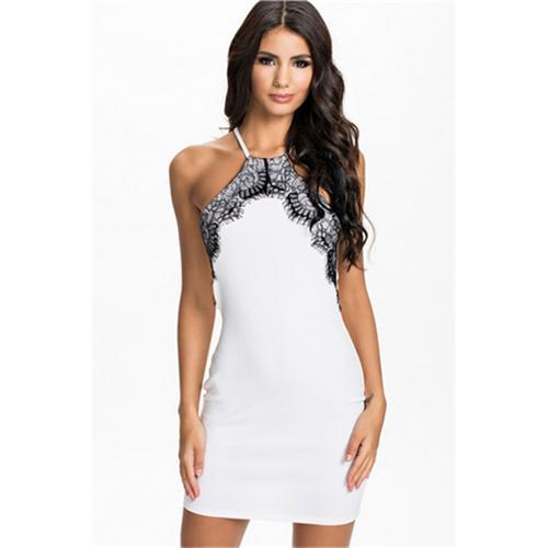 White Lace Trim Fashion Dress