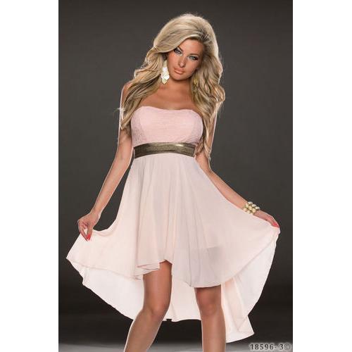 Sexy Chiffon Long dress with Lace Top Pink