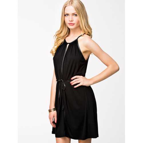 Black off shoulder slip dress