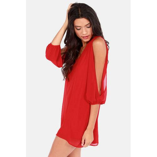 Sexy Plus Size Chiffon Off-The-Shoulder Dress Red