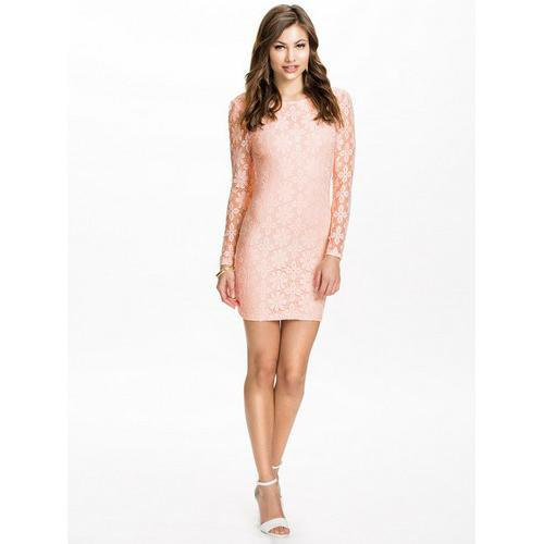 Open back long sleeve lace women dress pink