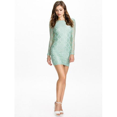 Open back long sleeve lace women dress light green