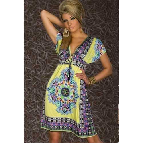 Fashion Retro 1960s 1970s Vintage Paisley Print V Neck Hippie Bohemian Summer Dress Yellow