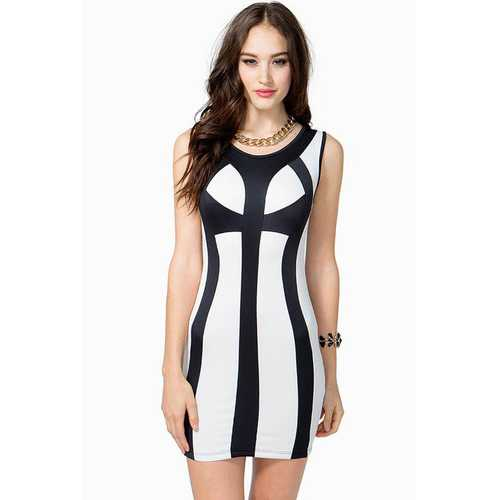 Black&White Two Tone Party Bodycon Dress