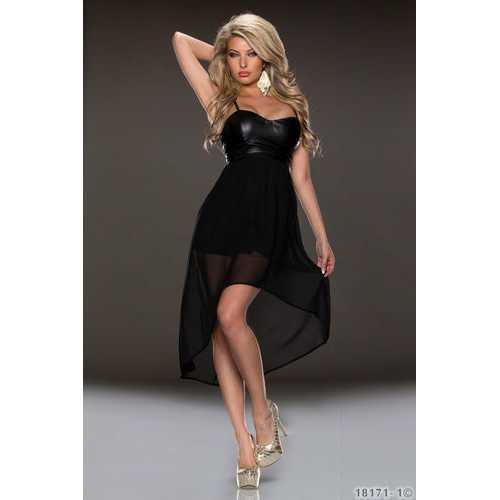Black Cropped Top Long Chiffon dress
