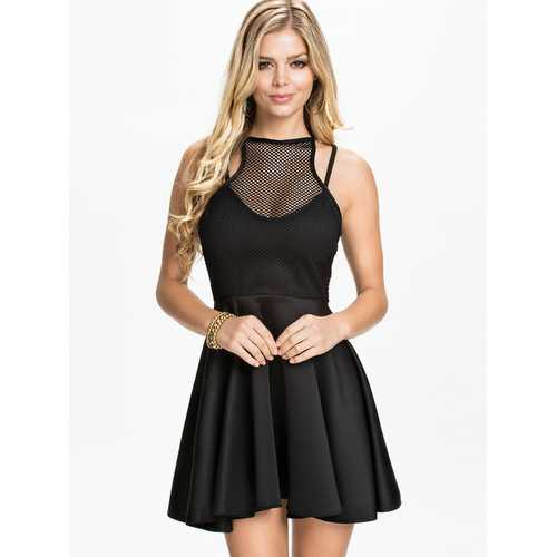 O-Neck women black skater dress