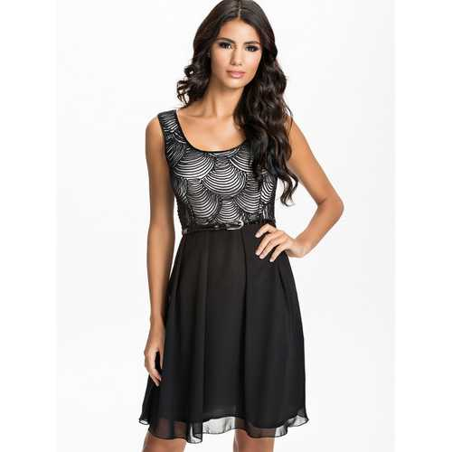 Sexy Black scale pattern Overlay Dress